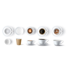 coffee cups realistic 3d empty dirty ceramic vector image