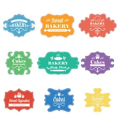 Collection of vintage retro bakery labels vector