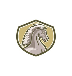 Colt horse head side shield retro vector