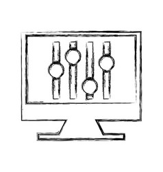 Computer with audio control panel icon vector