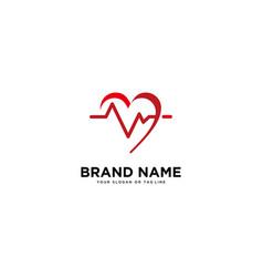Concept logo design heart rate template vector