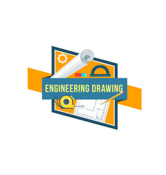 Construction engineering drawing tool icon vector