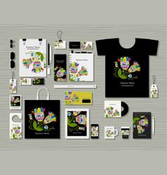 corporate flat mock-up template floral design vector image