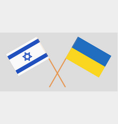 Crossed ukraine and italy flags vector