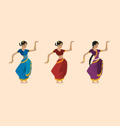 Cute cartoon indian dancer vector
