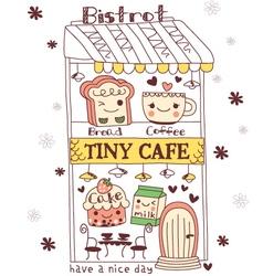 Cute doodle cartoon cake vector