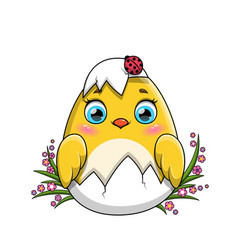 Cute little yellow easter chicken hatching from vector