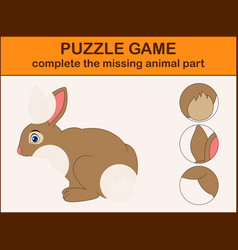 cute rabbit cartoon complete the puzzle vector image