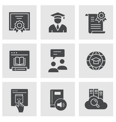 E-learning distance education icons vector