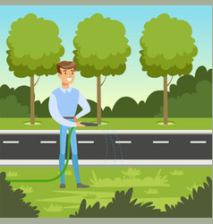 eco life concept with man character watering vector image