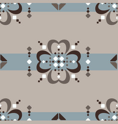 fair isle seamless pattern with brown flowers on vector image