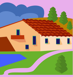 farm landscape with fields and farmhouse vector image