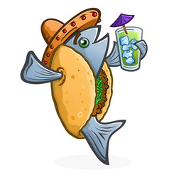 fish taco cartoon character holding a tropical dri vector image