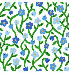 Forget me not tiny blue floral pattern vector
