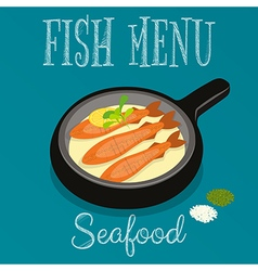 Fried fish in frying pan vector