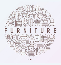 furniture concept in circle with thin line icons vector image