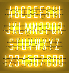 glowing yellow neon casual script font vector image