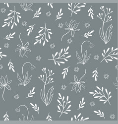 gray floral seamless pattern vector image