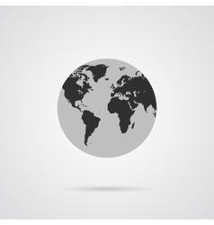 Gray Globe Icon with Dark Gray Continents vector image
