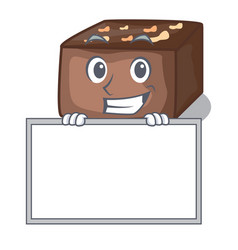 Grinning with board character cartoon almond cake vector