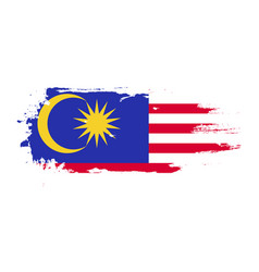 Grunge brush stroke with malaysia national flag vector