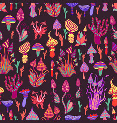 hallucinogenic decorative fantastic mushrooms vector image