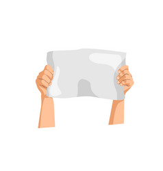 Hands holding placard isolated protester person vector