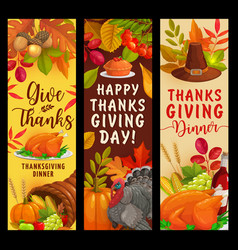 Happy thanksgiving banners with harvest vector