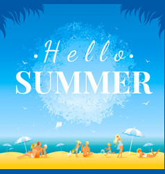 Hello summer banner day landscape sea beach vector