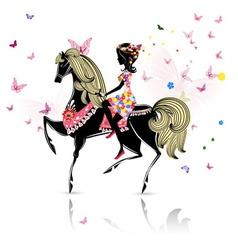 Horse girl vector