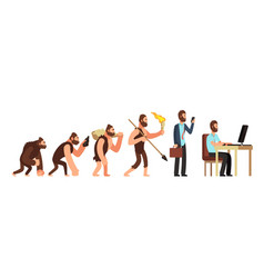 Human evolution from monkey to businessman and vector