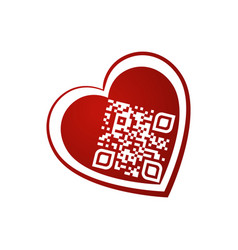 i love you qr code in red heart on white vector image