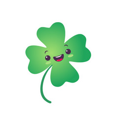 Icon lucky clover for patricks day in kawaii vector