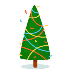 Isolated christmas tree on white background vector