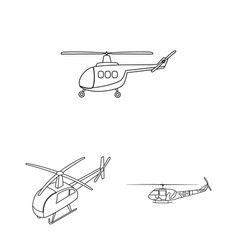 isolated object of helicopter and vehicle logo vector image