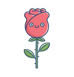 kawaii smiling rose flower vector image
