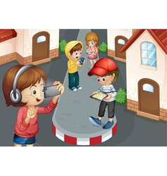 Kids on road vector