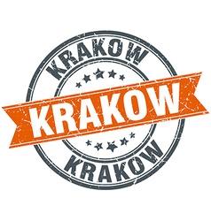 Krakow red round grunge vintage ribbon stamp vector
