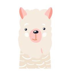 lama cute animal baby face vector image