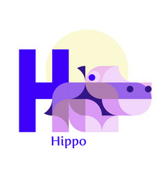 letter h - hippo vector image