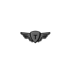 Letter t initial logo wing and badge shield vector