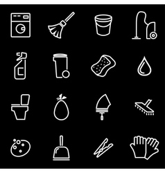 line cleaning icon set vector image