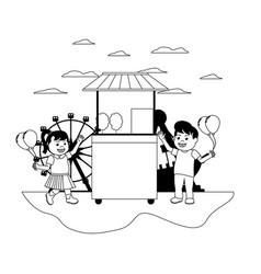 Line happy children buying carnival shop vector
