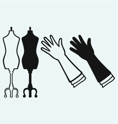 Long glove and tailors mannequin vector image