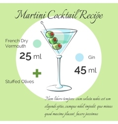 Martini cocktail receipt poster vector