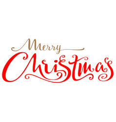 Merry christmas ornate lettering text for greeting vector