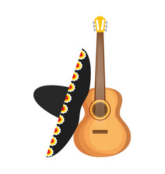 Mexican guitarron with mariachi hat vector