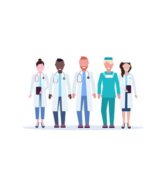 mix race group of medical doctors team in uniform vector image