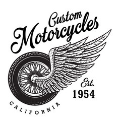 monochrome custom motorcycle logotype vector image