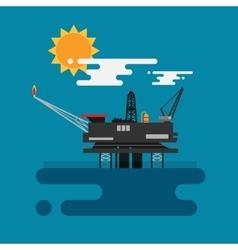 Offshore oil platform in the blue ocean Flat vector